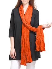 Orange Cotton Crinckled Dupatta - By