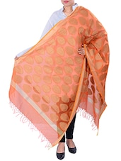 Orange, Gold Chanderi Silk Blend Banarasi  Dupatta - By