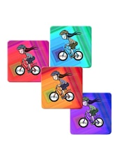 """Girl In Cycle"" Printed Mdf Coaster Set - Shopkeeda"