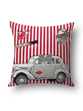 Sanaa Red Cotton Cushion Cover - By