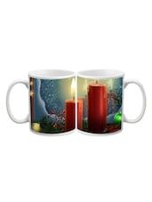 Red Candles With Stars Printed Mug - Start Ur Day