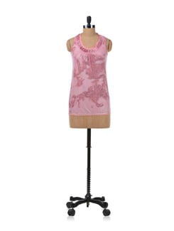 Pink Printed Sleeveless Top - Kaxiaa