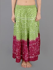 Bandhej Printed Cotton Embellished Long Skirt - Rajasthani Sarees