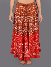 Cotton Embellished Bandhej Long Skirt - Rajasthani Sarees
