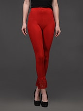 Red Cotton Lycra Tights  With Lace - Concepts