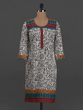 Quarter Sleeves Tribal Print Khadi Kurta - Concepts
