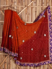 Orange And Maroon Chiffon Saree - Siya