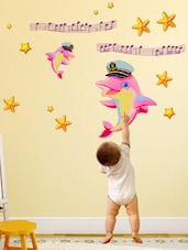 Wall Stickers Baby Room Kids Decor Cute Dolphins In Pink With Stars Peel And Stick Decal - By