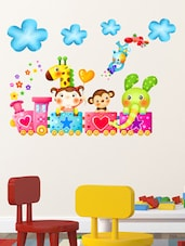 Wall Stickers Kids Room Train Happy Cartoon Animals With Clouds Baby Room Nursery School Design - By