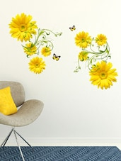 Wall Stickers Flowers Yellow Daisy With Green Vine Wall Art Design Living Room Office Decor - By