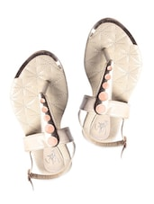 White Leatherette Textured Sandals - My Foot