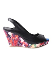 Black Peep Toe Wedges - My Foot