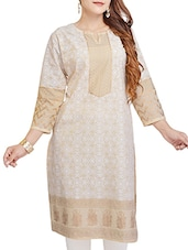 White , Brown Cotton Long  Kurta - By