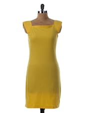 Squire Neck Short Sleeve Yellow Dress - Miss Chase