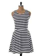 Monochrome Stripes A-Line Dress - Miss Chase