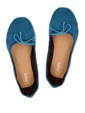 Bow Embellished Blue Suede Ballet Flats - Inara