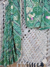 Sequined Paisley Bandhej Georgette Saree - Lazza