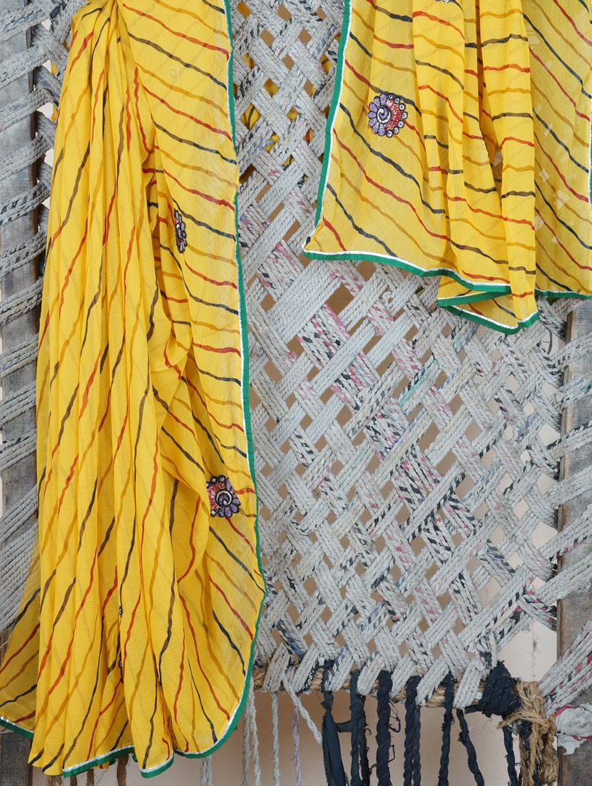 Floral Embroidery Lehariya Georgette Saree - Lazza