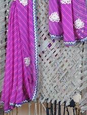 Embroidered Border Lehariya  Georgette Saree - Lazza - 1037168