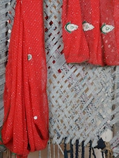 Red Embroidered Lehariya Georgette Saree - Lazza