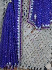 Floral Embroidered Lehariya Georgette Saree - Lazza