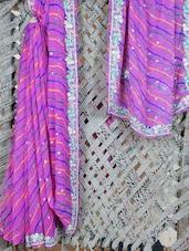 Embroidered Border Lehariya Georgette Saree - Lazza - 1037200