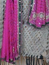 Embroidered Velvet Border Lehariya Georgette Saree - Lazza