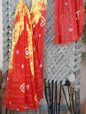 Geometric Printed Chiffon Saree - Bandhni