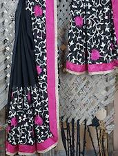 Georgette Gota Border Embroidered Bordered Saree - Bandhni