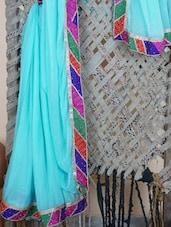 Multicolor Bordered Georgette Saree - Libaaz
