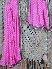 Pink & Green Leheriya Georgette Saree - Libaaz