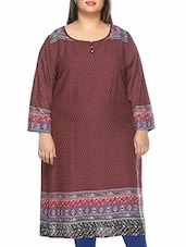 Maroon Viscose Rayon Long  Kurta - By