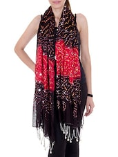 Black Cotton Mirror Work  Dupatta - By