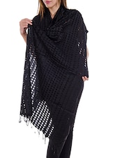 Black Staple Cotton Plain  Dupatta - By