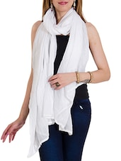 White Cotton Plain  Dupatta - By