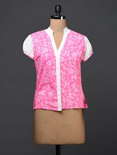 Bright Pink Floral Print Cotton Top - By