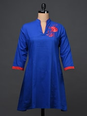 Royal Blue Cotton Kurti - Bhama Couture