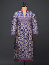 Blue Floral Printed Cotton Kurti - Bhama Couture