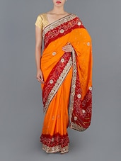 Embellished Orange And Maroon Silk Bandhani Saree - MEENAKSHI SAREE