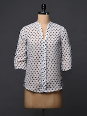 Quarter Sleeves Monochrome Print Georgette Shirt - NEE