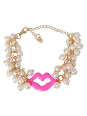 Gold Metal Alloy With Pearl Beads Bracelet - Super Drool