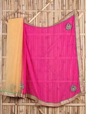 Color Block Embroidered Bordered Saree - Saree Street