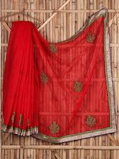 Patch Work Red Sheer Cotton Saree - Saree Street