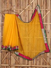 Bandhni Border Yellow Plain Saree - Saree Street