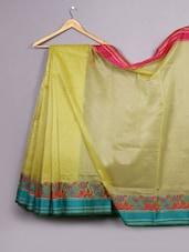 Yellow Paisley Woven Bordered Cotton Silk Saree - WEAVING ROOTS