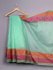 Green Floral Woven Bordered Cotton Silk Saree - WEAVING ROOTS