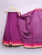 Plain Purple Bordered Cotton Silk Saree - WEAVING ROOTS