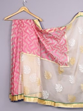 Woven Zari Border Cotton Net Saree - WEAVING ROOTS