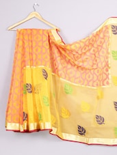 Woven Zari Border Leaf Printed Saree - WEAVING ROOTS