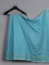 Blue Printed Cotton Saree - WEAVING ROOTS